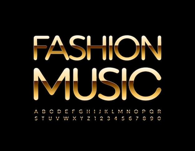 Lettres et chiffres de l'alphabet de luxe de police dorée élégante de musique de mode