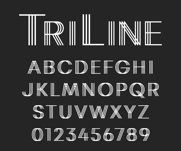 Lettres et chiffres design moderne linéaire