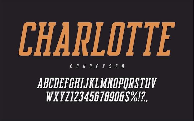 Lettres et chiffres majuscules obliques condensés, alphabet.
