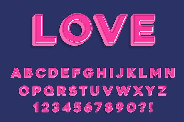 Lettres, chiffres et symboles de l'alphabet rose 3d moderne. typographie douce. vecteur