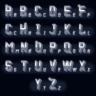 Lettres de chrome 3d volumétriques vintage en métal. typographie rétro dimensionnelle, icône métallique de conception.