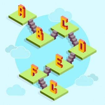 Lettres colorées d'un jeu