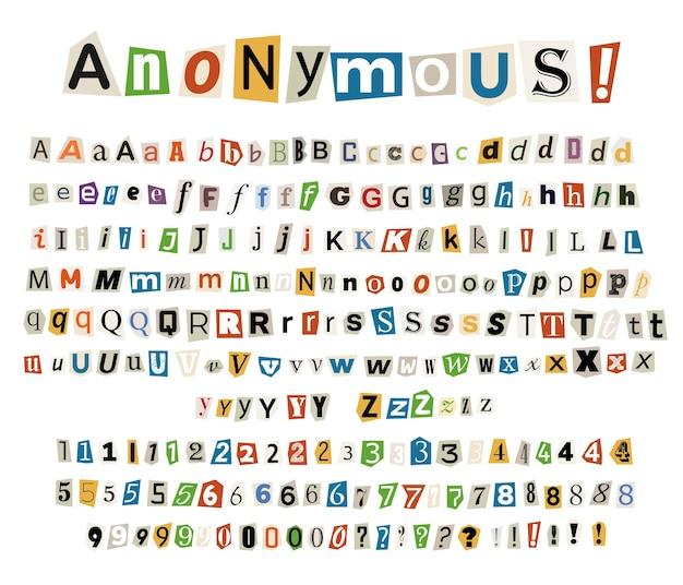 Lettres criminelles anonymes en couleur découpées dans des journaux et des magazines