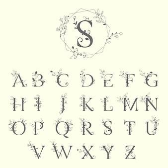 Lettres de décoration florale alphabet