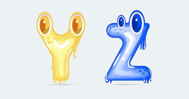 Lettres de dessin animé drôle de monstre yz. illustration vectorielle.