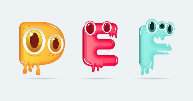 Lettres de dessin animé de monstre drôle def. illustration vectorielle. fond de monstres
