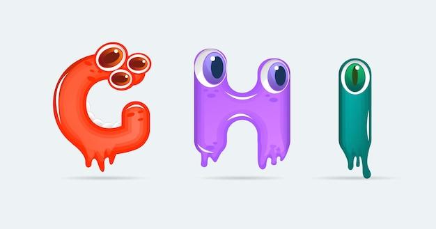 Lettres de dessin animé de monstre drôle ghi. illustration vectorielle. fond de monstres