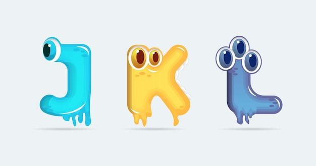 Lettres de dessin animé de monstre drôle jkl. illustration vectorielle. fond de monstres