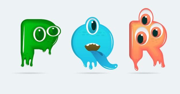 Lettres de dessin animé de monstre drôle pqr. illustration vectorielle. fond de monstres