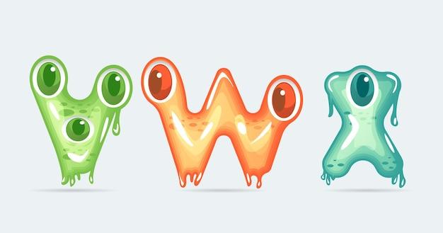 Lettres de dessin animé de monstre drôle vwz. illustration vectorielle.