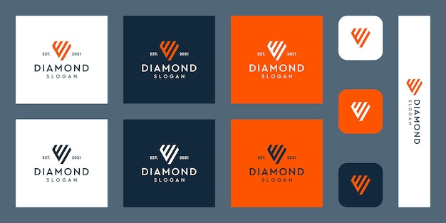 Lettres e monogramme logo avec des formes de diamant abstraites vecteurs premium