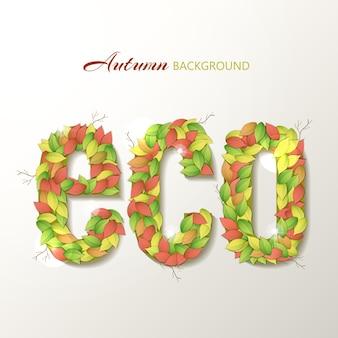 Lettres eco écologiques avec feuille d'automne