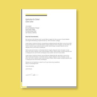 Lettres d'école de demande de couverture professionnelle