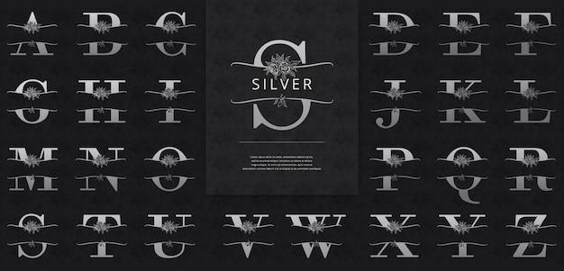 Lettres fendues avec logo de fleurs argentées