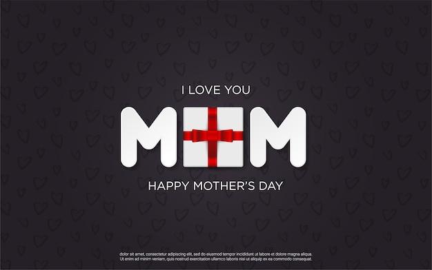 Lettres de fête des mères heureux avec boîte-cadeau