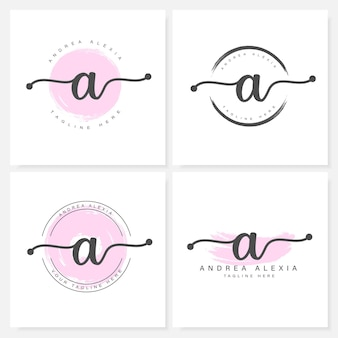 Lettres florales féminines un modèle de conception de logo