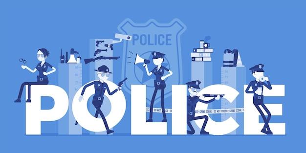 Lettres géantes de la police avec des officiers masculins et féminins