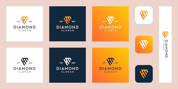 Lettres h et m monogramme logo avec des formes de diamant abstraites vecteurs premium