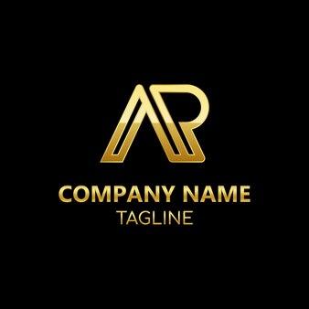 Lettres initiales ap modèle de logo vectoriel monogramme dans un style de luxe doré