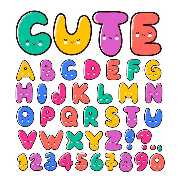 Lettres avec jeu de polices de visages mignons
