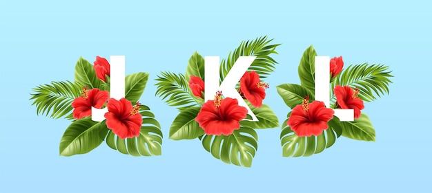 Lettres jkl entourées de feuilles tropicales d'été et de fleurs d'hibiscus rouges