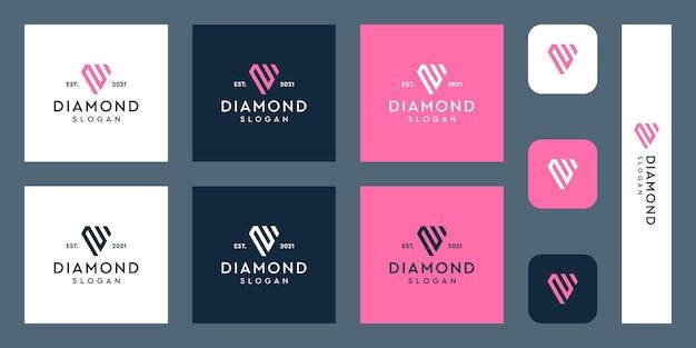 Lettres m monogramme logo avec des formes de diamant abstraites vecteurs premium
