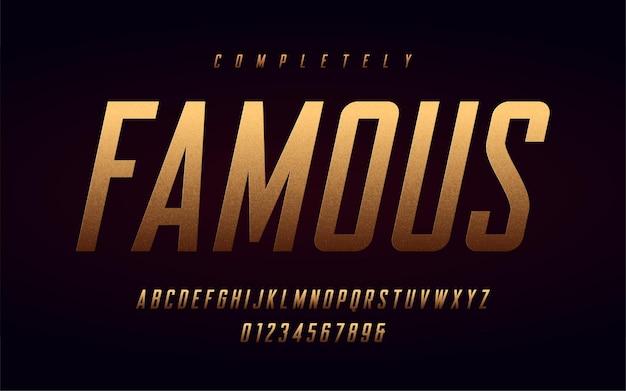 Lettres majuscules et chiffres condensés, alphabet avec effet de la feuille d'or.