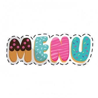 Lettres de menu avec image d'icône d'embellissement de pâtisserie