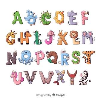 Lettres mignonnes de formes animales