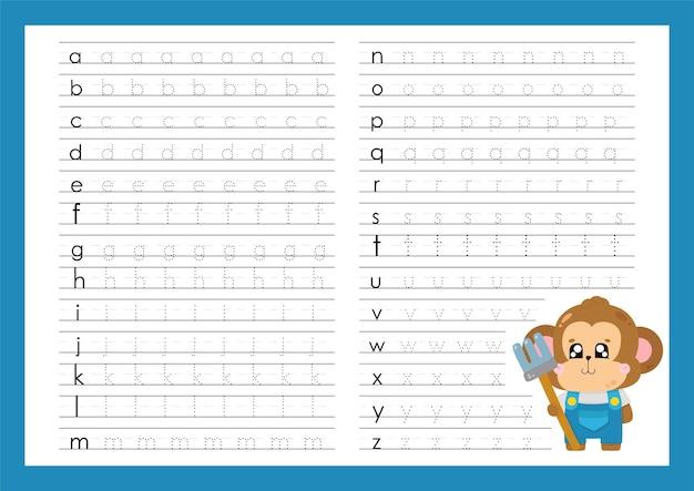 Lettres minuscules trace alphabet a à z écrit des feuilles de travail pour le préscolaire