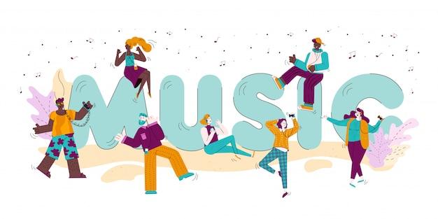 Lettres de musique et doodle personnes écoutant illustration de musique isolée.