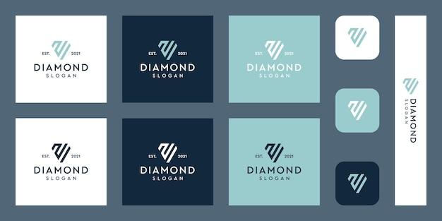 Lettres n monogramme logo avec des formes de diamant abstraites vecteurs premium