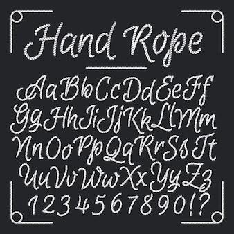 Lettres nautiques de la corde à main. alphabet de fil de vecteur. illustration de ficelle abc, alpine de mer vintage