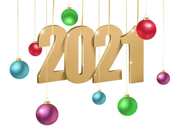 Lettres d'or de bonne année avec des décorations de noël boules colorées isolé sur fond blanc