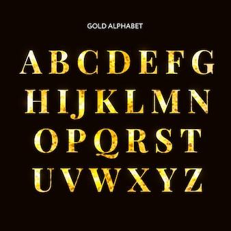 Lettres d'or. ensemble de l'alphabet d'or. cadre scintillant