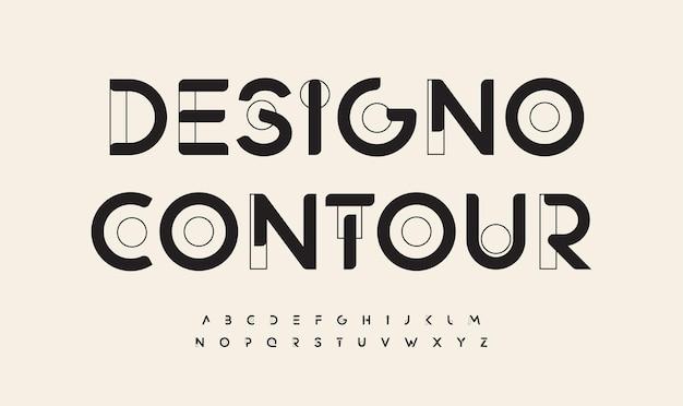 Les lettres de pointe de police dessinées géométriques décrivent l'alphabet de contour d'art minimaliste futuriste