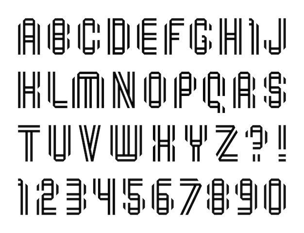 Lettres de police modernes pliées à partir d'une double ligne