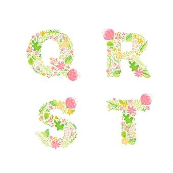Lettres q, r, s, t avec fleurs et branches en fleurs