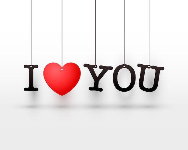 Lettres suspendues je t'aime avec un coeur rouge