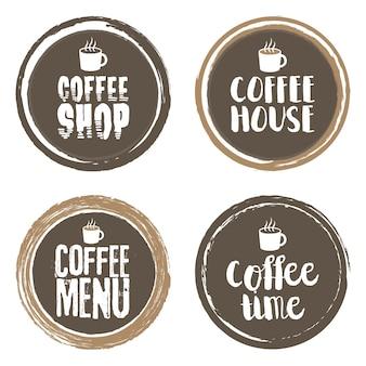Lettres et tasse de menu de café. ensemble de cercles de grunge. illustration vectorielle.