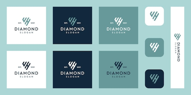 Lettres u et h monogramme logo avec des formes de diamant abstraites vecteurs premium