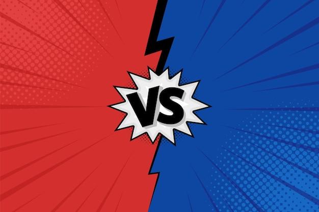 Les lettres versus vs combattent les arrière-plans dans une conception de style bande dessinée plate avec des demi-teintes et des éclairs. illustration vectorielle