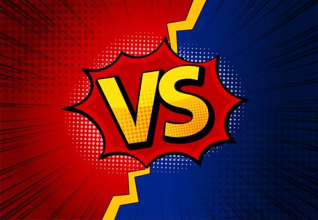 Les lettres versus vs combattent les arrière-plans dans un style de bande dessinée plat avec des demi-tons, des éclairs.