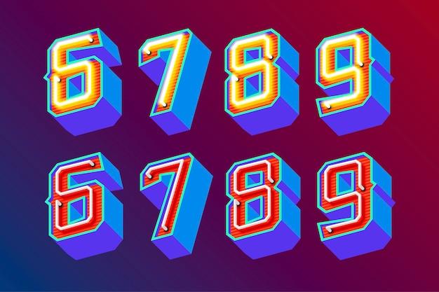 Lettres vintage 3d avec néons fluorescents et mode de commutation on / off