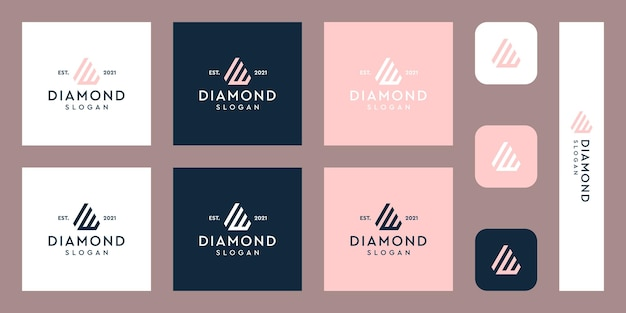 Lettres w monogramme logo avec des formes de diamant abstraites vecteurs premium