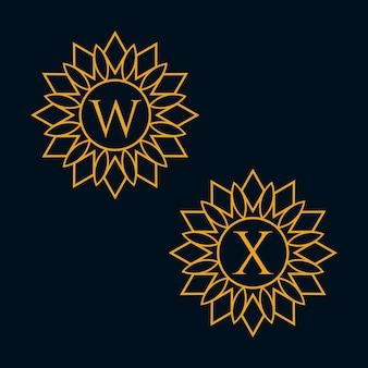 Lettres w et x design vector