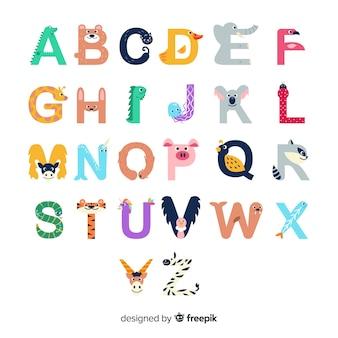 Lettres de a à z avec des formes d'animaux mignons