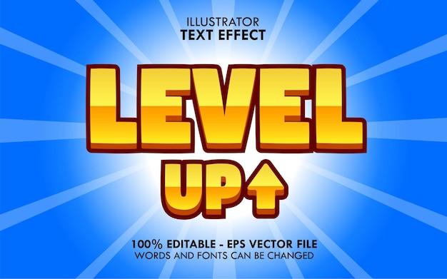 Level up, effet de texte modifiable de style ui de jeu de dessin animé