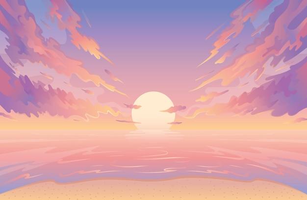 Lever ou coucher de soleil sur fond de paysage aquatique