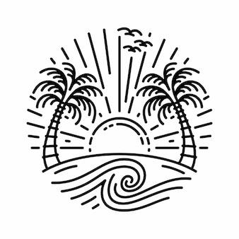 Lever ou coucher de soleil sur la plage de rond isolé sur fond blanc